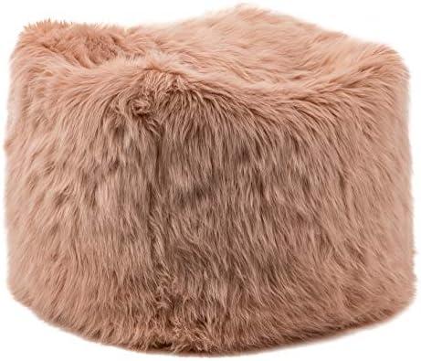 WOVENBYRD 18-Inch Square Faux Fur Pouf Ottoman