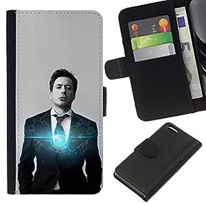 """JackGot ( T Stark Iron Man"""" ) Apple iPhone 5C la tarjeta de Crédito Slots PU Funda de cuero Monedero caso cubierta de piel"""