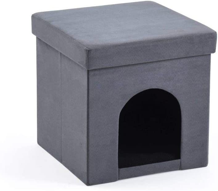 Hodedah Faux Suede Collapsible Pet in Ottoman,