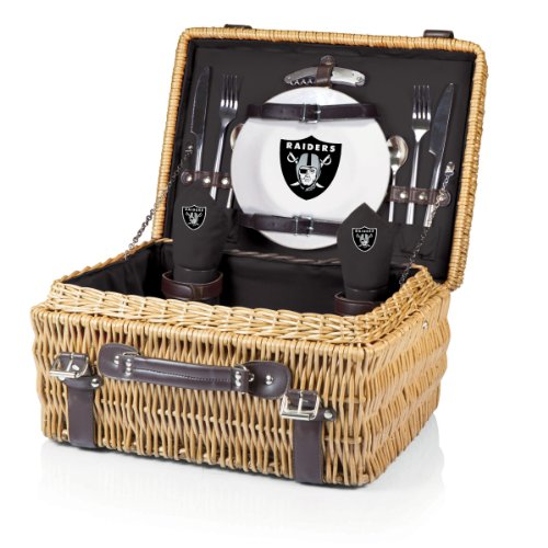 NFL Oakland Raiders Champion Picnic Basket with Deluxe Service for Two, Black