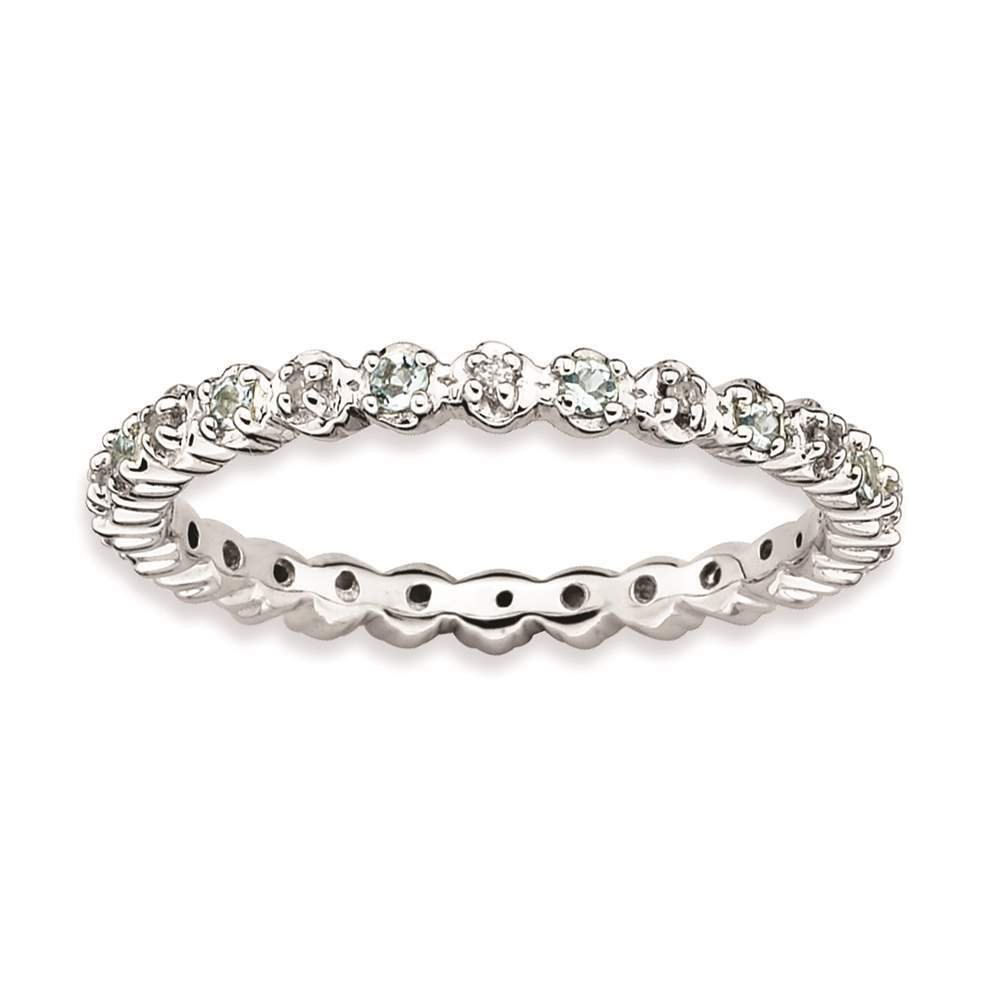 925 Sterling Silver Rhodium-plated Aquamarine & Diamond Eternity Ring by Stackable Expressions Size 7