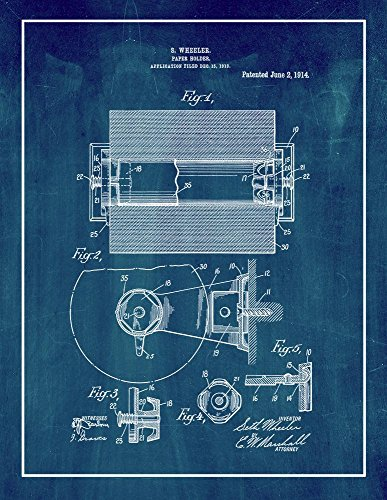 Toilet Paper Holder Patent Print Art Poster Midnight Blue wi