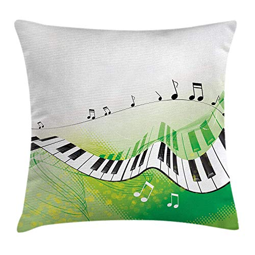 (Music Decor Throw Pillow Cushion Cover, Music Piano Keys Curvy Fingerboard Summer Entertainment Flourish, Decorative Square Accent Pillow Case, 18 X 18 Inches, Light Green and White)