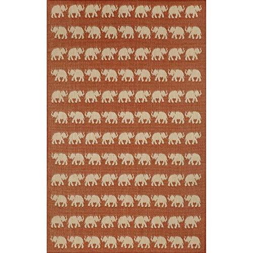 Trans Ocean Import Terrace Elephants Terracotta Rectangular: 1 Ft. 11 In. x 2 Ft. 11 In. Indoor/Outdoor ()