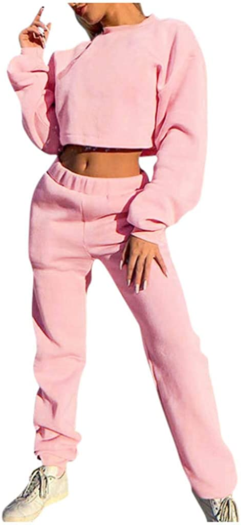 Winsummer Womens Two Piece Crop Pullover Top Sweatpants Set Sport Jogger Sweatsuit Tracksuit Outfit