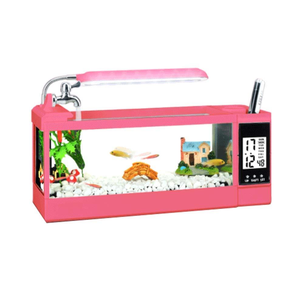 JIANGU - Acuario pequeño para Escritorio, decoración de Acuario con múltiples Funciones: Amazon.es: Productos para mascotas