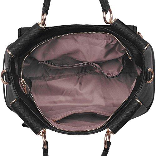 Nuevas mujeres diseñador bolsos señoras piel sintética hombro bolsos Tote Satchel Cruz cuerpo Grab, color rojo, talla L Negro