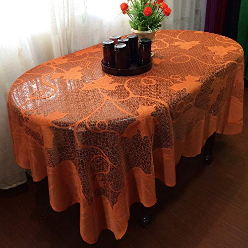 Stillbetter Thanksgiving Decoration Table Decor Cloth Rectangle Lace Cover Maple Leaf Pumpkin Tablecloth 60 x 84 inch