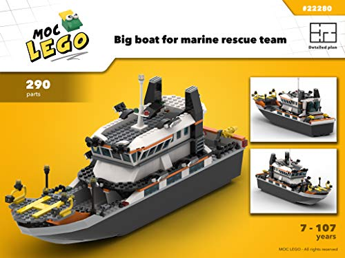 Big boat for marine rescue team (Instruction Only): MOC LEGO por Bryan Paquette