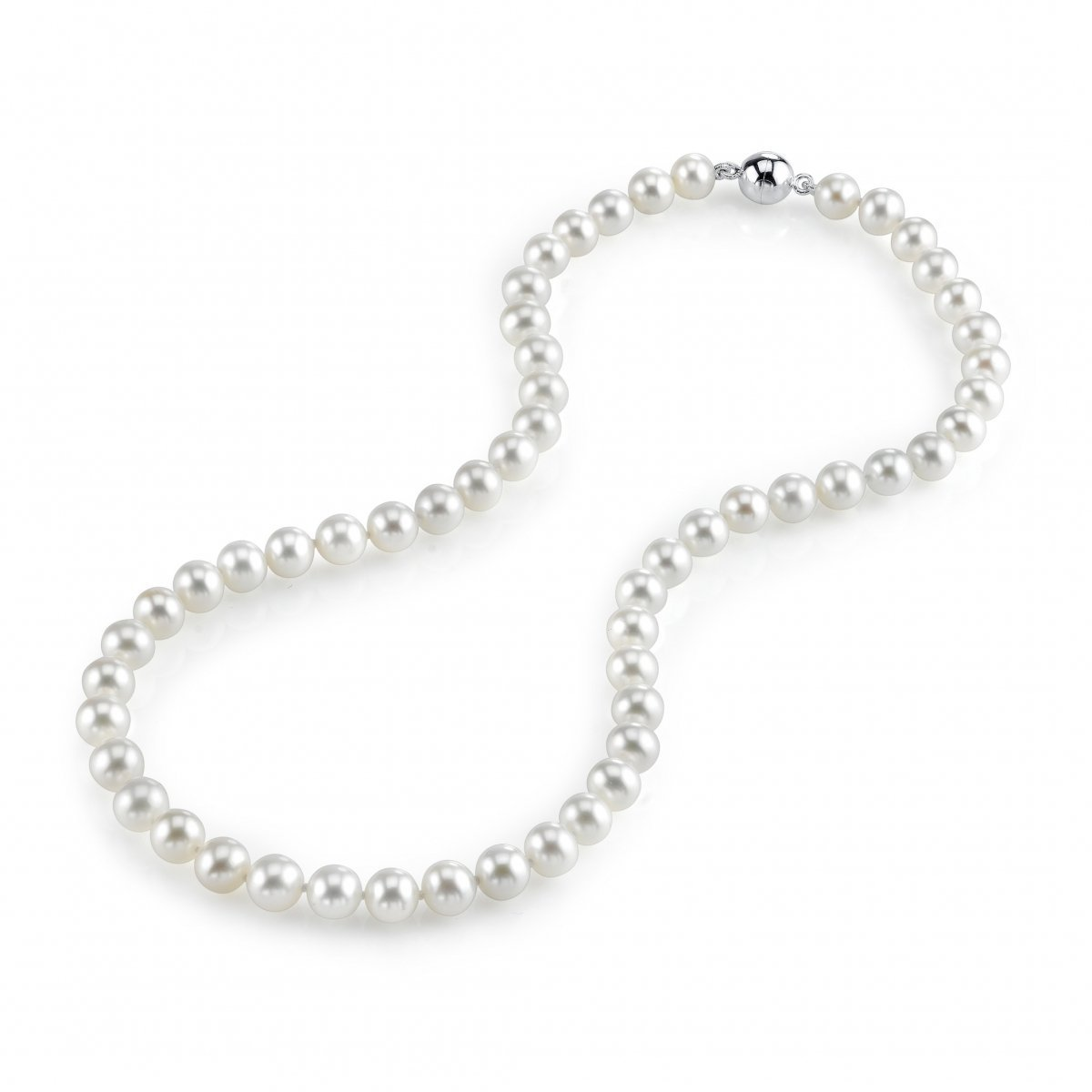 THE PEARL SOURCE 7-8mm AAA Quality White Freshwater Cultured Pearl Necklace for Women with Magnetic Clasp in 17'' Princess Length