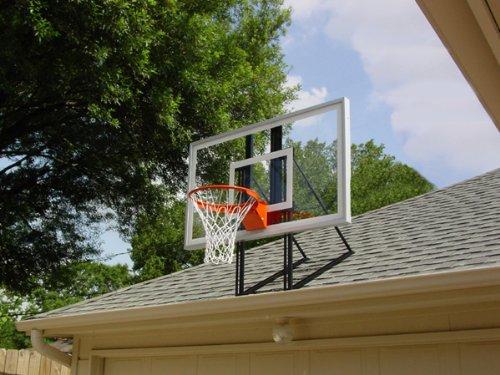 Roof King Platinum: Garage Roof-Mount Basketball Hoop System with 60 Inch Backboard, Durable Steel Universal Bracket and Break-Away Rim Combo
