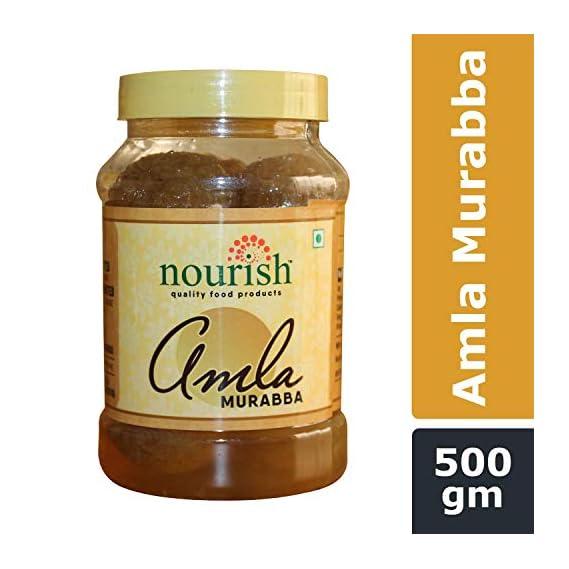 Nourish Amla Murabba Gooseberry | No Artificial Colour or Flavour| Amla, Sugar, Citric Acid |Rich in Vitamin C | Powerful Antioxidant | Good Source of Minerals | Anti-Ageing Properties | 500 g
