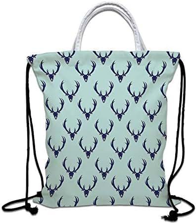 Deer Drawstring Backpack Bag,Jungle Creature s with Antlers Abstract Animal Motifs Hipster Wildlife Lightweight Sports Gym Bag for Women Men Children,Pale Seafoam Navy Blue