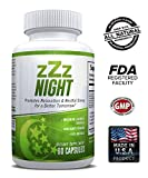 zZz Night Natural Sleep Aid – Non-Habit Sleeping Pills with Melatonin, Valerian, Chamomile & More – Promotes Relaxation & Restful Sleep for a Better Tomorrow – 60 Capsules – Money Back Guarantee
