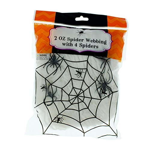 Super Cheap Halloween Decorations (Spider Webbing - White - 2 oz with 4 Spiders Halloween Decoration - Spooky Web)