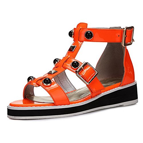 AllhqFashion Womens Open Round Toe Cow Leather Low Heels Solid Sandals with Changeable and Buttons Orange 7HcZgwti