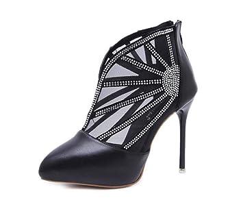 Malla Cool Botas Botines Mujer Bomba 11Cm Tacón De Aguja Puntas De Pie Rhinestone Vestido Botas Net Hilado Roma Corte Zapatos: Amazon.es: Deportes y aire ...