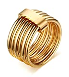 KnSam Women Stainless Steel Promise Ring 10MM Multi-layer Ring Comfort Fit Gold Size 9