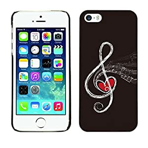 LASTONE PHONE CASE / Slim Protector Hard Shell Cover Case for Apple Iphone 5 / 5S / Love Note Music Heart Drawing Art Infinity Red by ruishername