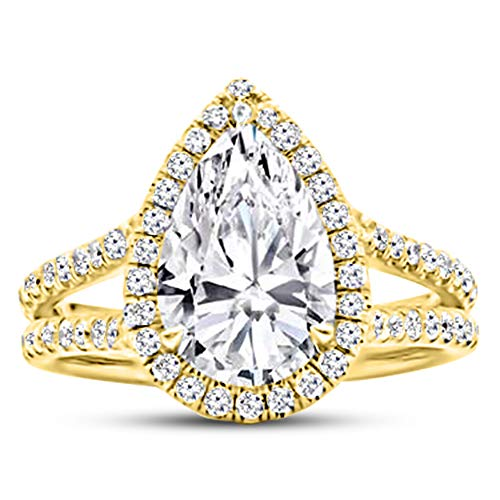 2 Carat GIA Certified 14K Yellow Gold Split Shank Pear Cut Diamond Engagement Ring (1.5 Ct J-K Color SI1-SI2 Clarity Center) ()