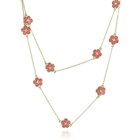 Bling Jewelry Crystal Red Enamel Clover Flower Necklace Gold Plated 36in