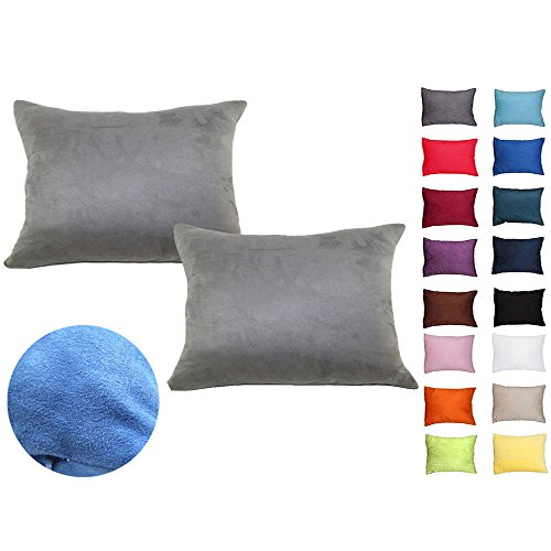 WOMHOPE 2 Pcs - Solid Super Soft Faux Suede Cushion Decorative Pillow Covers Square Throw Pillowcase Cushion Covers for Sofa,Bed (13 X 19 Inches, Grey)
