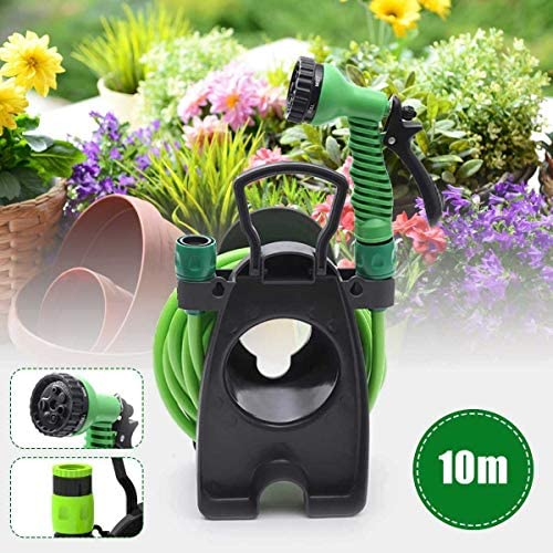 Anxia Mini Portable Garden Pipe Hose Reel Cart With Water Sprayer Set Agricultural Home Storage Suit Cart Car Wash Car 10m Hose