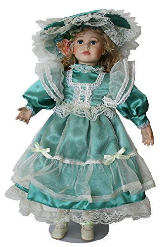 "Victorian Porcelain Doll 23"" Standing With Lace Overlay Teal Gown and Matching Hat With Lace Trimming"