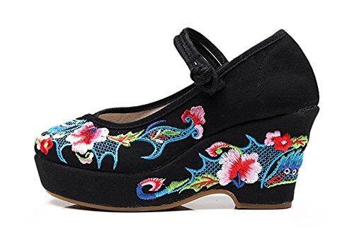 AvaCostume Womens Retro Ethnic Style Embroidery Platform Wedding Wedges Black YIMTSa87D