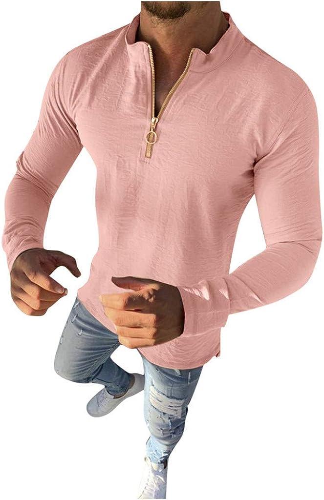 Behkiuoda Men Long Sleeve Shirt Button T-Shirt Outwear Zipper Casual Slim Fit Pullover Sweater Blouse Tops
