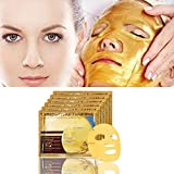 Anti Aging Lace Face Mask Hunputa 24k Gold Collagen Skin Tightening Face Mask Anti Aging, Deeply Moisturizing, Rejuvenating, Whitening & Firming Effects