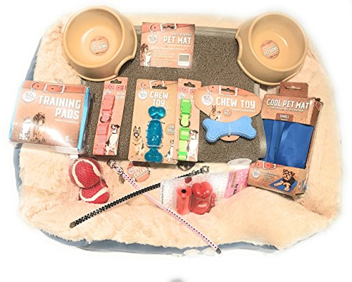 (The Pampered Paw by LuxePets DogDad Ultimate Starter Kit: Pet Beds, Pet Collars, Pet Mats, Bamboo Pet Bowls, Dog Chew Toys, Cooling Pad, PeePee Pads, Stylish Leash, and a Surprise!)