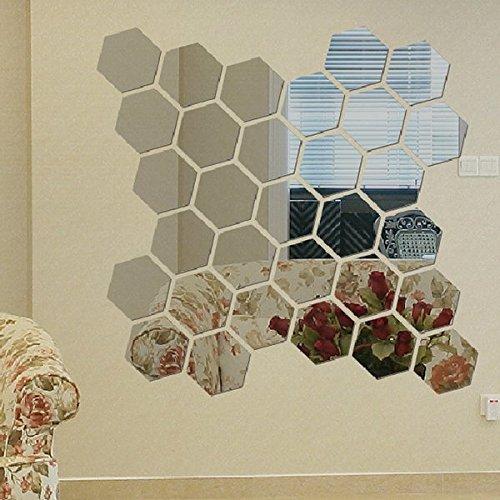 Price comparison product image Modern 12 Stück Kreative 3D Silver Spiegel Hexagon Wandaufkleber Dekoration