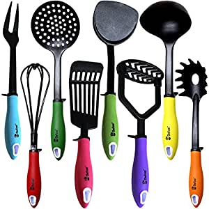 Kitchen Utensils Cooking Set by Chefcoo™ Includes 8 Pieces Non-stick Cookware Gadgets - Masher, Spaghetti Server, Skimmer, Soup Ladle, Fish Slotted Turner, Whisk, Turner, Fork