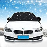 Magnetic Windshield Snow Cover, HAOCOO Frost Screen Cover Mirror Cover 6 Magnets Universal Wind Screen Frost and Ice Protector in all Weather for Car SUV Truck Van(245*145cm, Black)