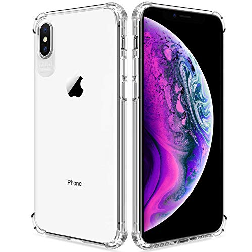 DAUPIN for iPhone Xs Max Case, Crystal Clear Thin Slim Protective Cover Soft TPU Shockproof Defender Anti-Slip Turn Sound Dustproof Hole Game Cases for Apple iPhone Xs Max 6.5 Inch (Clear)