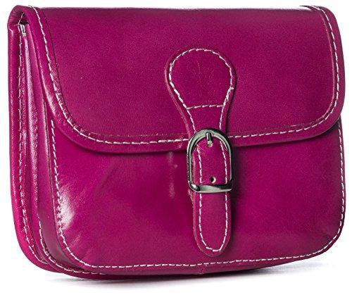 BHBS Damen klein Handtasche aus echtem Leder Umhängetasche Überqueren Sie Körper Beutel 15.5 x 17 x 5.5 cm (B x H x T) (11 Pink)