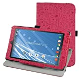 """Insignia NS-P08A7100 Rotating Case,Mama Mouth 360 Degree Rotary Stand With Cute Lovely Pattern Cover For 8"""" Insignia Flex NS-P08A7100 Andriod 6.0 Tablet 2016,Rose Red"""