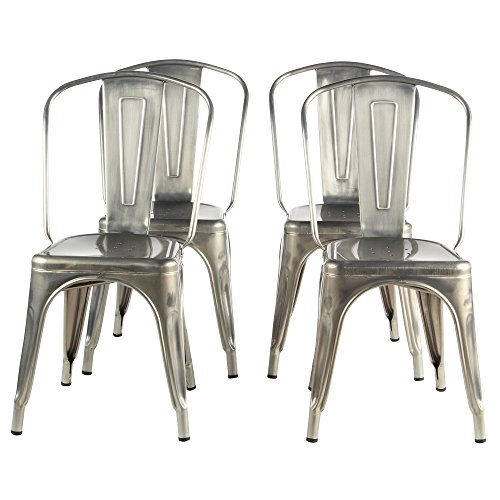 Tolix Style Bistro Dining Side Chair, Galvanized Silver, Set of 4