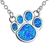 KELITCH Puppy Footprint Pendant Necklace Shiny Created Opal Y Shape Choker Necklace Gift for Friends (Blue)