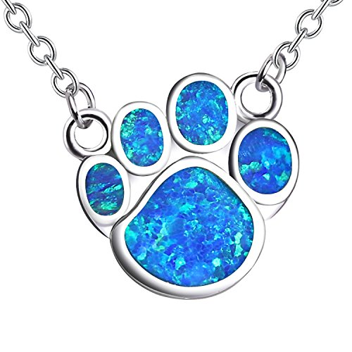 KELITCH Puppy Footprint Pendant Necklace Shiny Created Opal Y Shape Choker Necklace Gift for Friends (Blue) by KELITCH (Image #6)