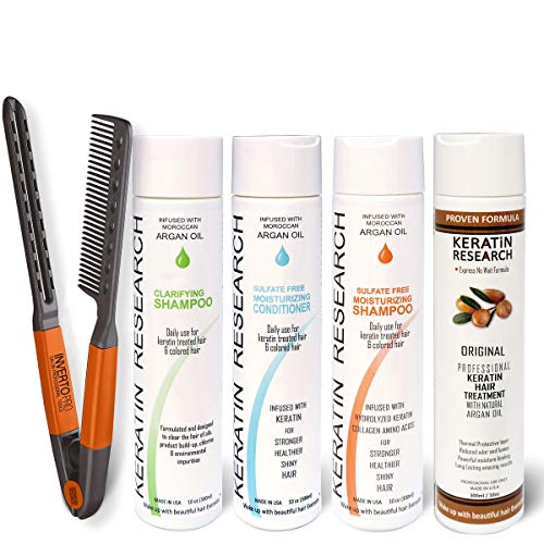 Complex Brazilian Keratin Blowout Hair Treatment 4 Bottles 300ml Value Kit Includes Sulfate Free and Easy Comb Queratina Keratina Brasilera Tratamiento (Best At Home Keratin Smoothing Treatment)