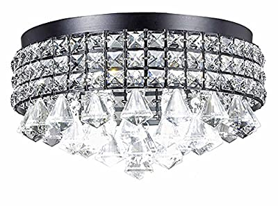 Diamond Life 4-Light Antique Black Metal Shade Flushmount Crystal Chandelier Ceiling Fixture