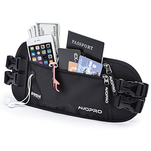 (AUOPRO Hidden Money Belt, RFID Blocking Travel Wallet Passport Holder Security Waist Pouch for Women Men, Gifts for Travelers, 2 Adjustable Straps)