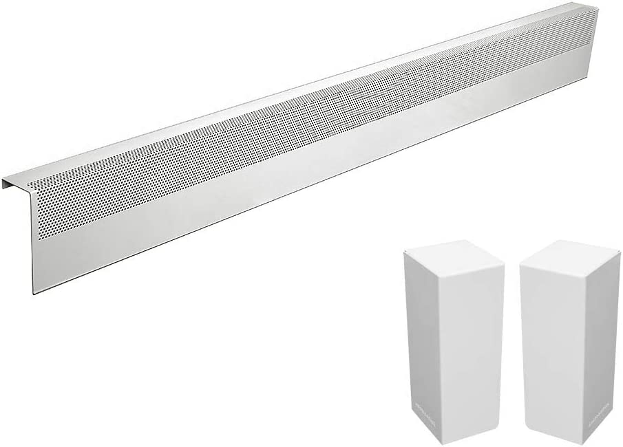 Basic Series Galvanized Steel Easy Slip-On Baseboard Heater Cover in White (5 ft, Cover + L&R End Caps)