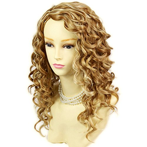 Lovely Stunning Long Curly Blonde mix skin top Wigs Versatile Hair Ladies Wig