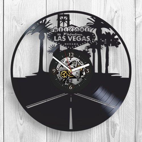 Vintage Las Vegas Casino - Vinyl Clock, Las Vegas, Wall Decor, Casino, Modern Art, Room Decor, Poker, Vintage Vinyl Record, Big City, Nevada, Gift For Womam,Gift For Man, USA, Wall Art, Home Decor