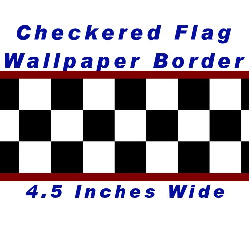 Checkered Flag Cars Nascar Wallpaper Border-4.5 Inch (Red Edge) Black And White Checkered Border