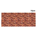 3D Wall Panels Brick Design Wall Sticker, 11.81''x11.81'', 4MM Thickness 3D Texture Touch Feel, Perfect Home Decoration (10 Pcs, Yellow & red)