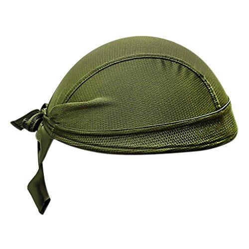 (Bandana Headbands Sweat Wicking Beanie Cap Adjustable Hat Chemo Cap Skull Cap Head Wrap For Men and Women Fits under Helmets and Baseball Cap Beanie Cycling (Green))